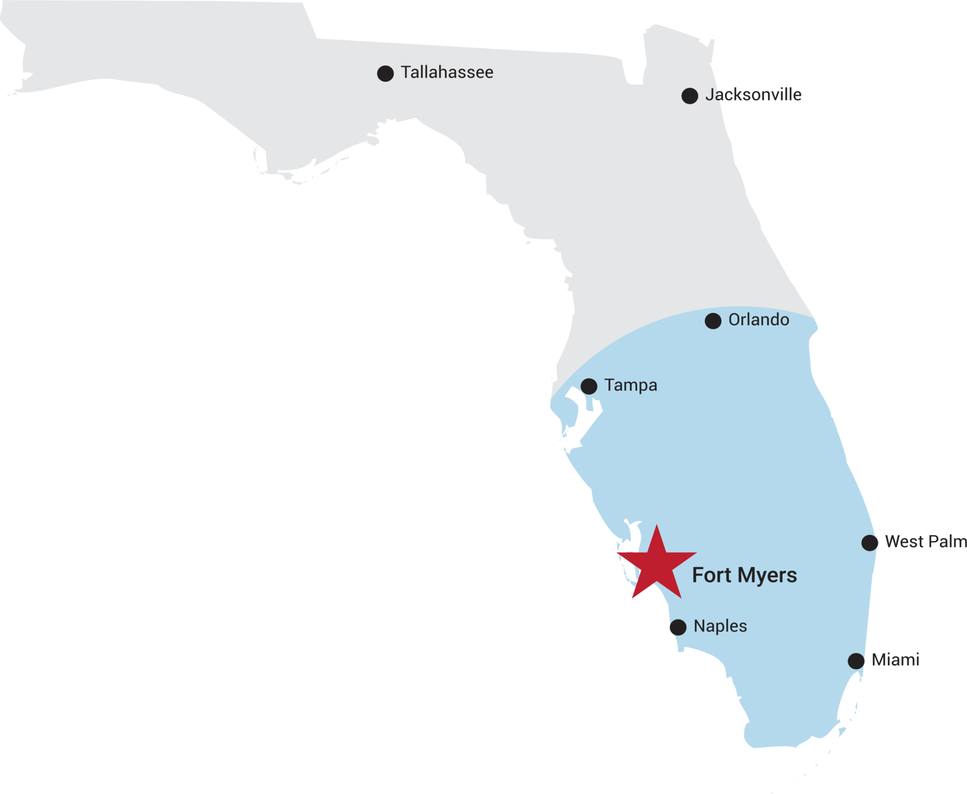 florida map fort myers and othe major cities